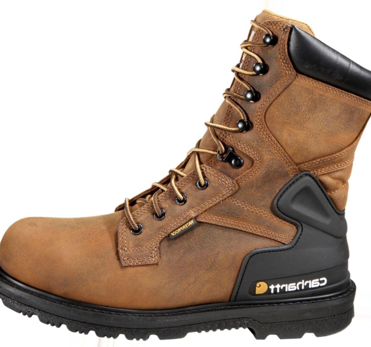 """Carhartt® Men's 8"""" Bison Brown Waterproof Steel-Toe Work Boots"""