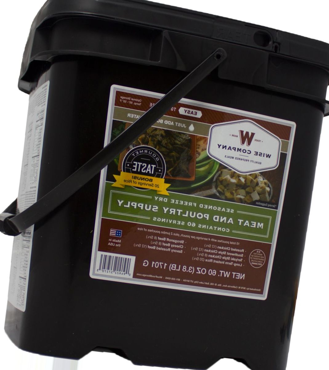 Wise Meat Bucket with Rice – 60 Servings