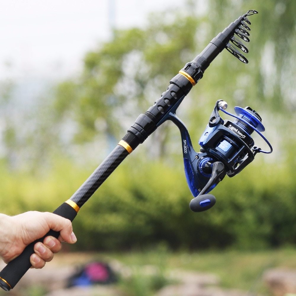 Sougayilang 1.8-3.6m Telescopic Fishing Rod and Spinning Reel with Spare Coil Sets Portable Carp Fishing Rod Reels Combo pesca
