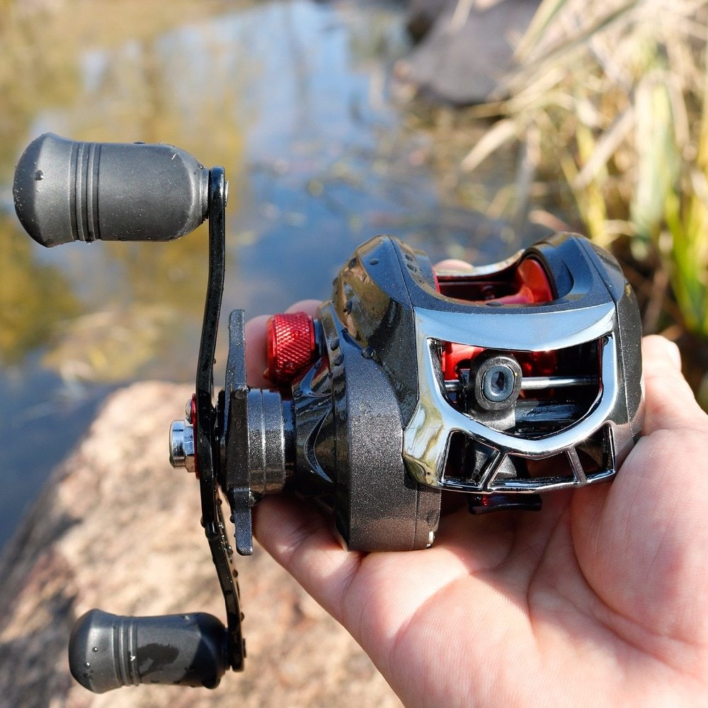 Sougayilang 13BB Ball Bearings Baitcasting Fishing Reel 8kg Drag Power Saltwater Baitcasting Reel Right/Left Hand Carp Reel Coil