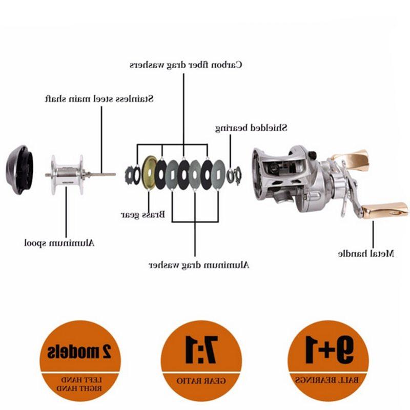 Sougayilang 7.0:1 Baitcasting Fishing Reel Full Metal Baitcasting Reel Fresh/SaltWater Fishing Coil Wheels 17.5 Lb Carbon Fiber