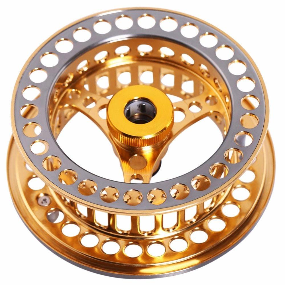 Sougayilang 7/8 WT Fly Fishing Reel CNC Machine Cut Fishing Reel Large Arbor Die Casting Aluminum Fly Reel Wheel Fishing Tackle