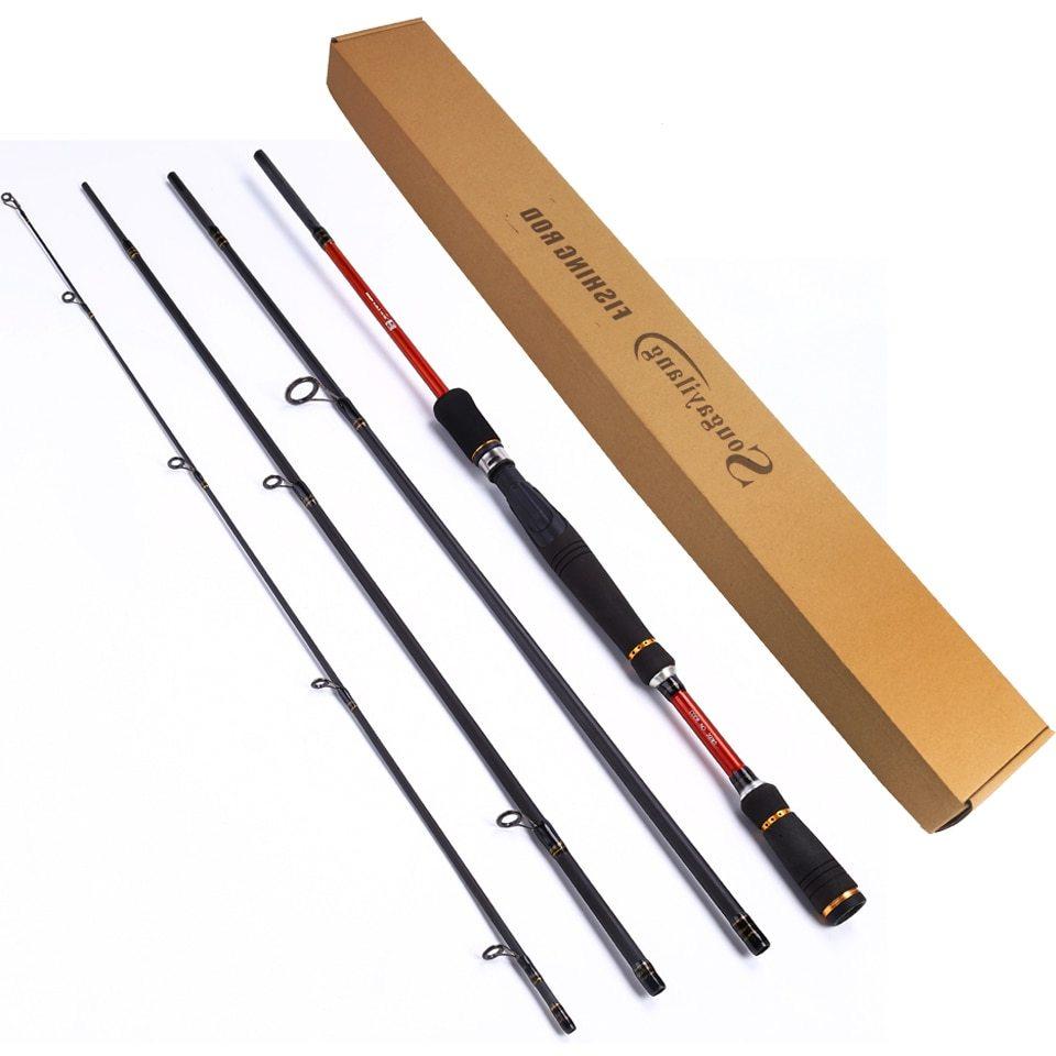 Sougayilang Baitcasting Fishing Rod Lure Fishing Rod Carbon Fiber Material 4 sections 2.1/2.4/2.7m Telescopic Fishing Rod Tackle