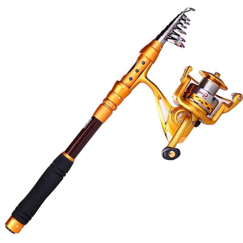 Sougayilang Fishing Rod Reel Combo Kit Carbon Fiber Telescopic Pole With Full Metal Reel Spinning Fishing Reel Fishing De pesca