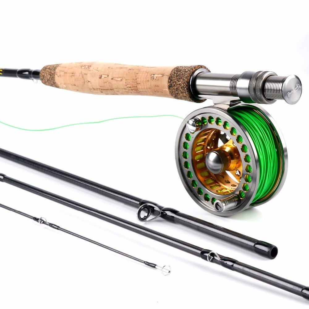 Sougayilang Fly Fishing Rod and 5/6 Fly Reel Sets 2.7m Carbon Freshwater Fly Rod Full Metal Fishing Reel Combo Fish Tackle Pesca