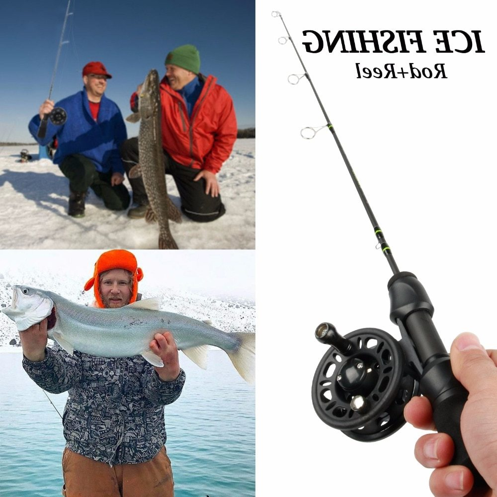 Sougayilang Ice Fishing Rod and Reel Combos Spinning Fishing Pole Plastic Ice Fishing Reels Kits Fishing Tackle 24MH 26MH 28MH