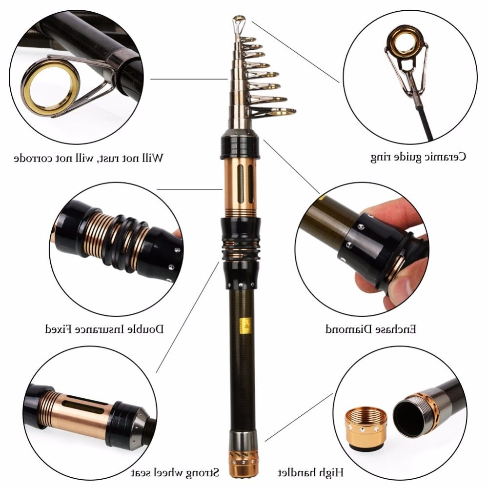 Sougayilang Telescopic Fishing Rod Mini Fishing Rod 1.3-2.4m Portable Carbon Fiber Rod Pocket Spinning Fishing Rod Vara De Pesca