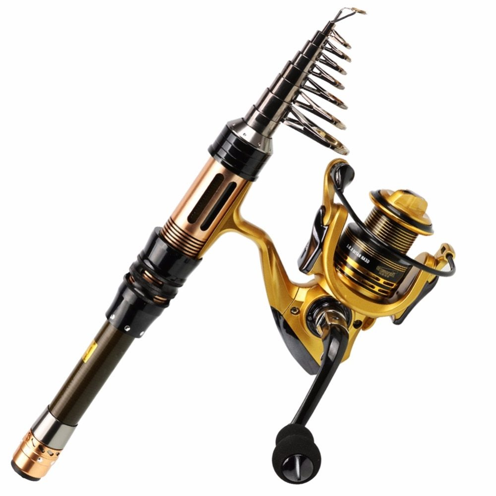 Sougayilang Telescopic Fishing Rod Spinning Fishing Reel Combo 1.3-2.4m Portable Carbon Fiber Rod Carp Fishing Reel Set De Pesca