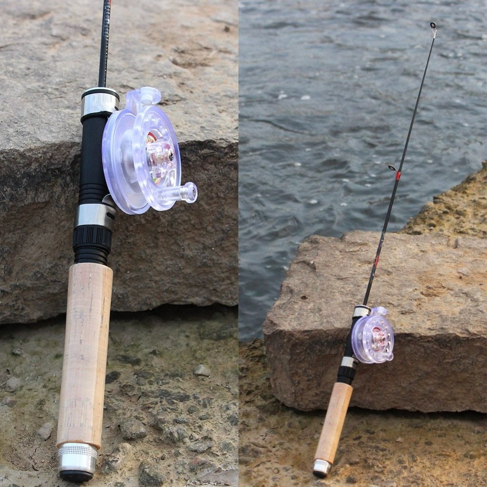 Sougayilang Winter Ice Fishing Rod With Ice Fishing Reel Mini Pocket Ice Fishing Rod Winter Ice 2BB Fly Fishing Reel Kit Combo
