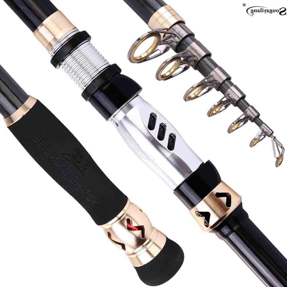 Sougayilang1.8-3.6M Telescopic Fishing Rod Carbon Portable Travel Spinning Rod Saltwater Fishing Tackle Fishing Pole De Pesca