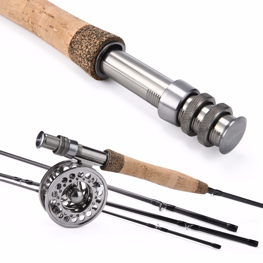 Sougayolang Fly Fishing Rod and Fly Reel Combo 2.7m Carbon Portable Fly Rod 5/6 Full Metal Fishing Reel Set Fishing Tackle Pesca