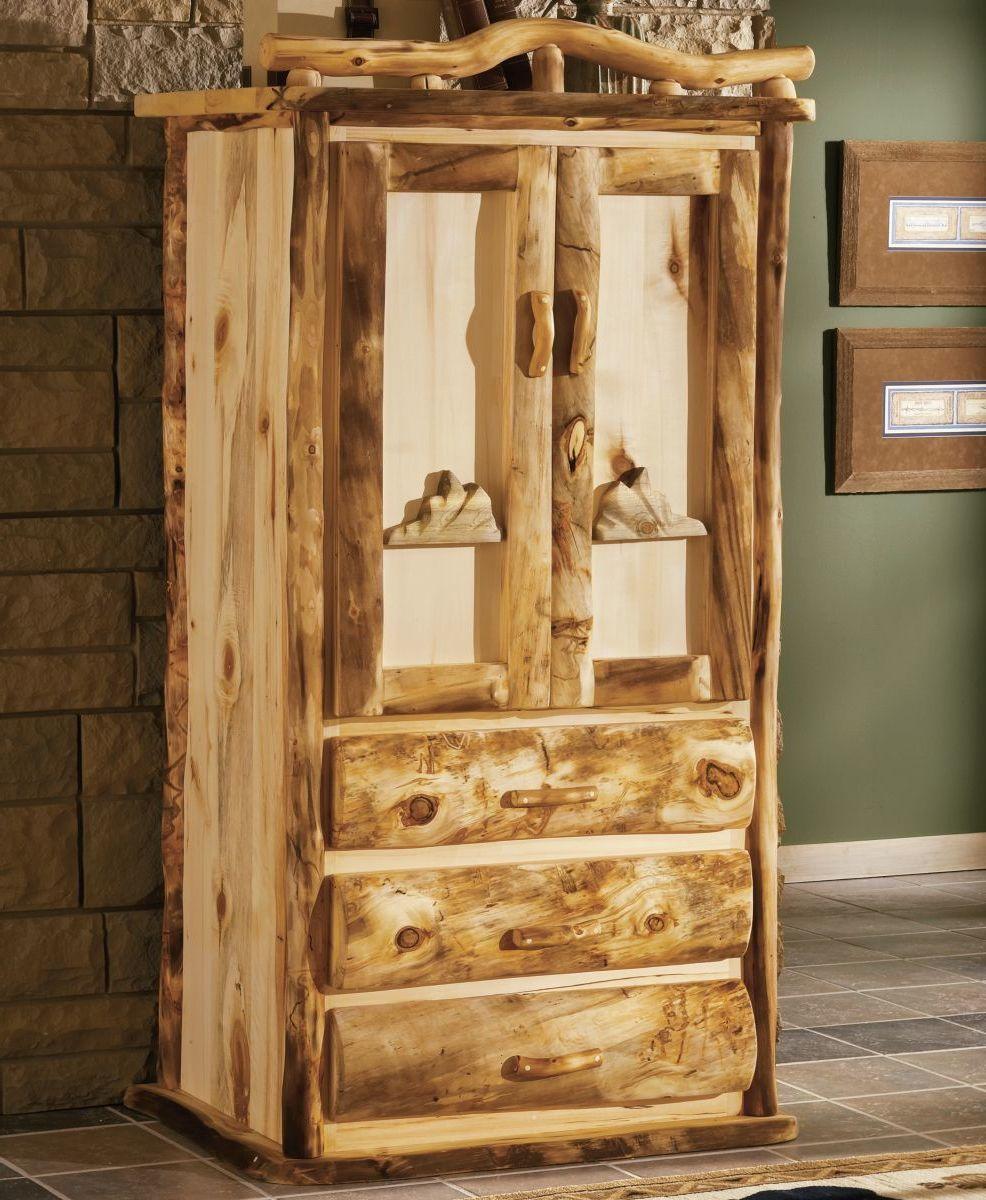 Mountain Woods Furniture® Aspen Log 3-Drawer Teton Armoire