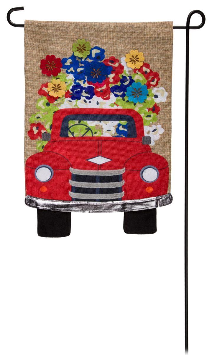 Evergreen® Red Truck with Flowers Burlap Garden Flag