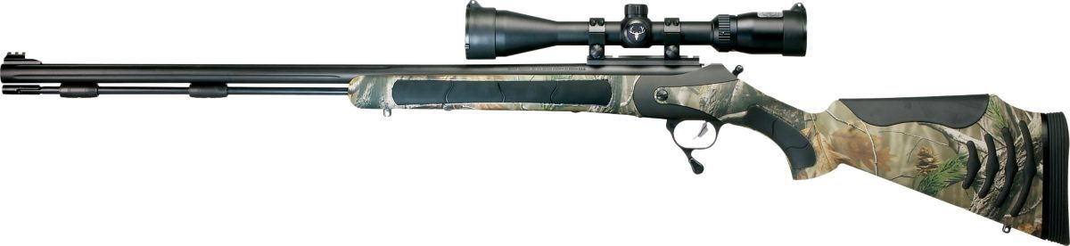 Thompson/Center Triumph® Bone Collector™ Weather Shield®/Realtree AP® Muzzleloader with Bushnell® Trophy XLT DOA-250 3-9x40 Scope and Gun Case Combo