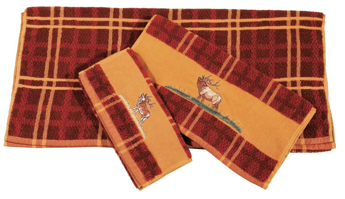 HiEnd Accents Rustic Embroidered Three-Piece Plaid Towel Set