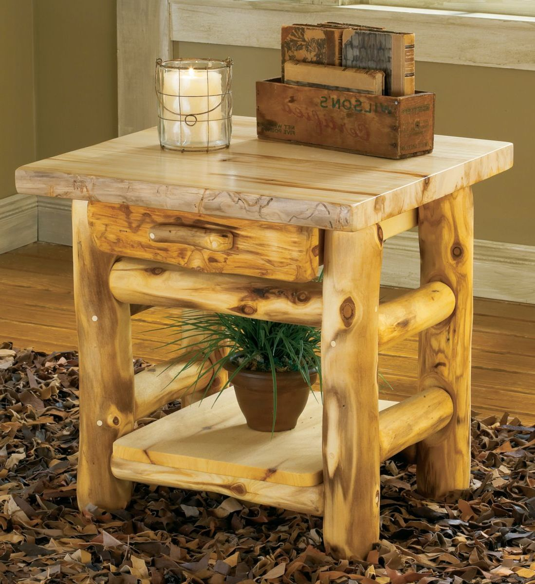 Mountain Woods Furniture® Aspen Log One-Drawer End Table