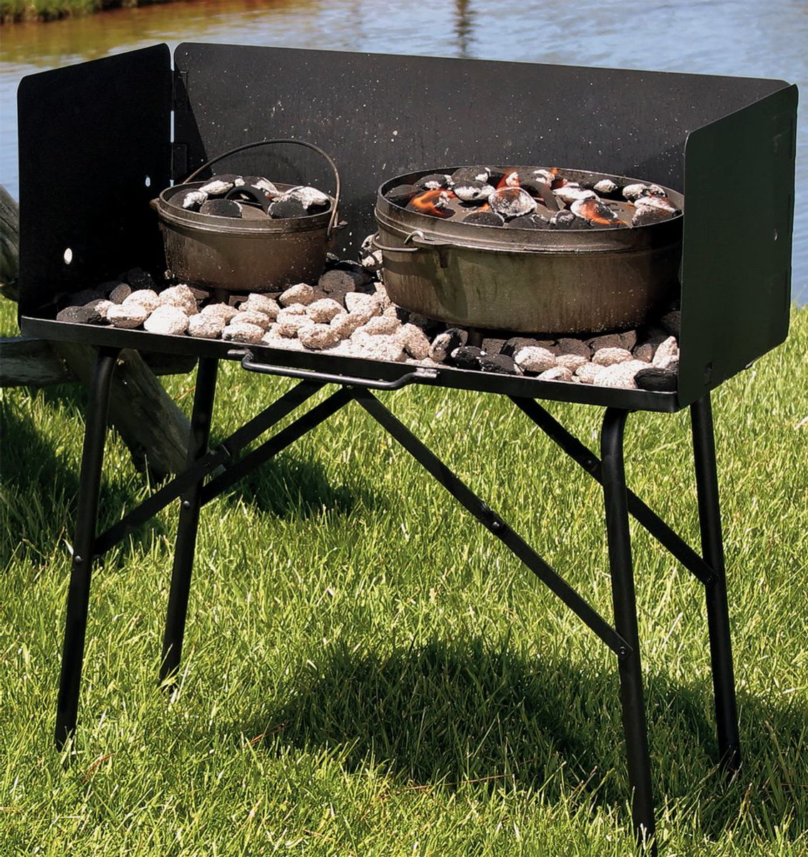 Lodge™ Camp Dutch Oven Cooking Table with Tall Windscreen