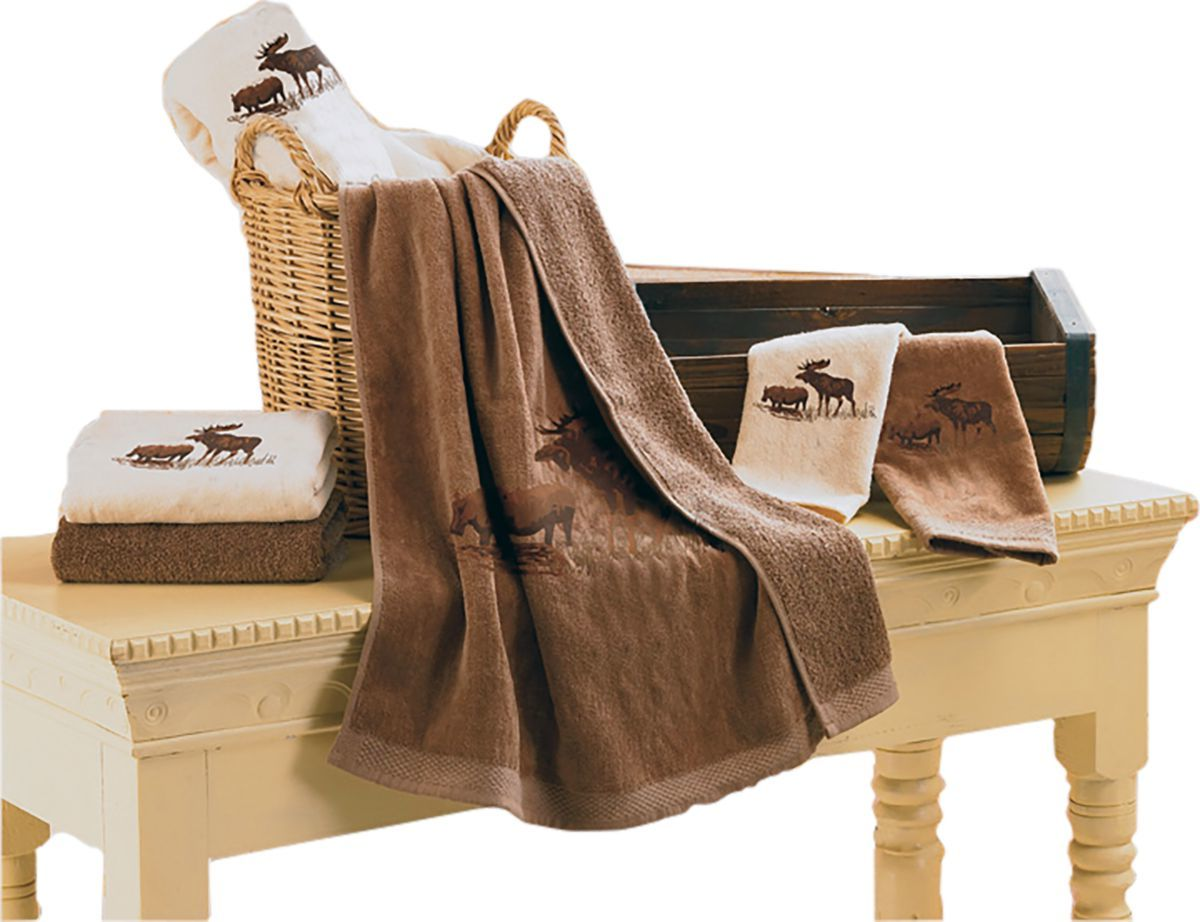 HiEnd Accents Embroidered Moose 3-Piece Mocha Towel Set