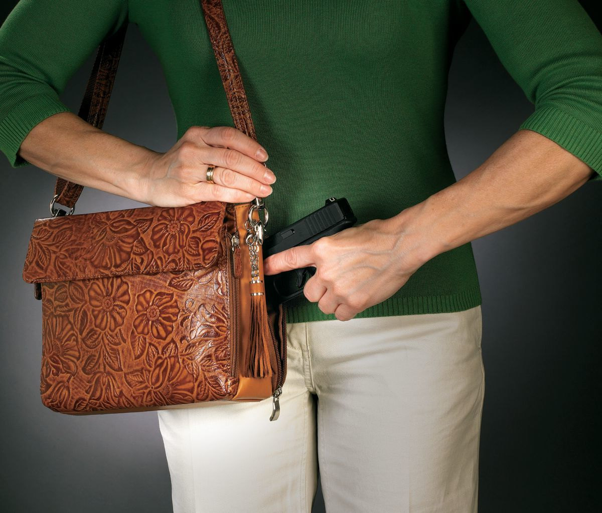 Gun Tote'n Mamas™ Concealed-Carry Tooled Handbag