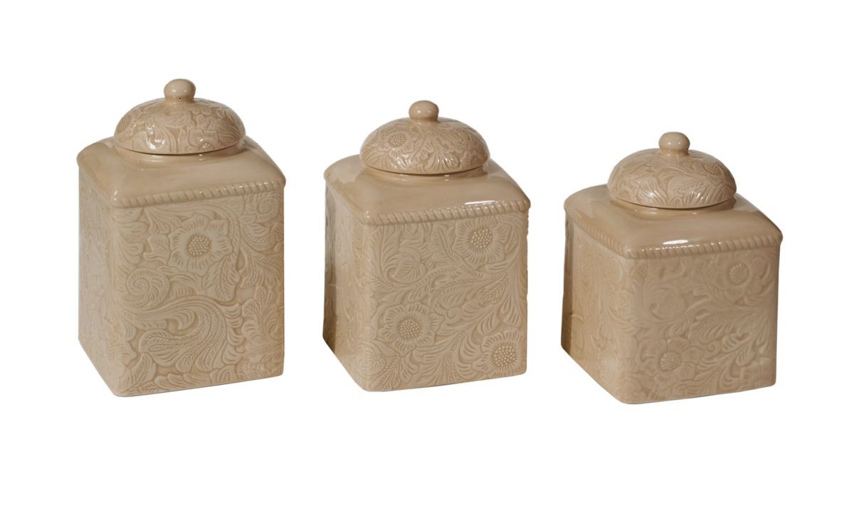 HiEnd Accents Savannah Taupe Three-Piece Canister Set