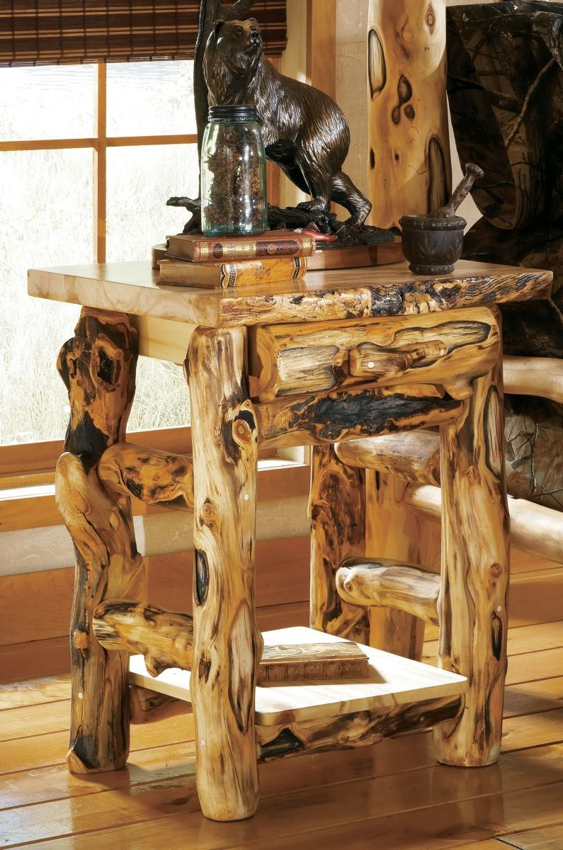 Mountain Woods Furniture® Extra-Gnarly Aspen Log One-Drawer Nightstand