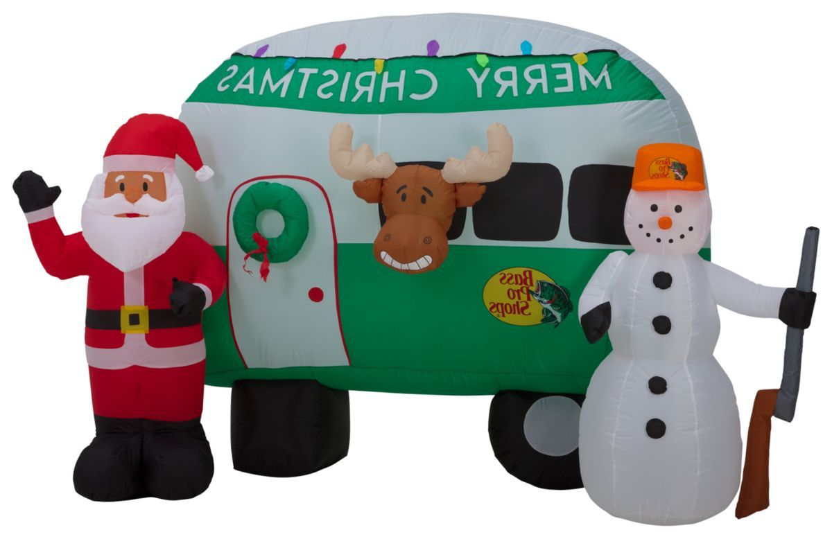 Bass Pro Shops® 8-ft. Santa and Snowman Camper Inflatable