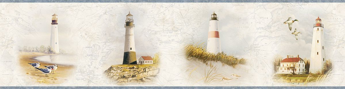 Seaman Lighthouse Coast Portrait Border