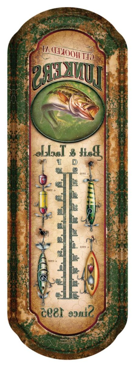 River's Edge® Lunker's Tin Outdoor Thermometer