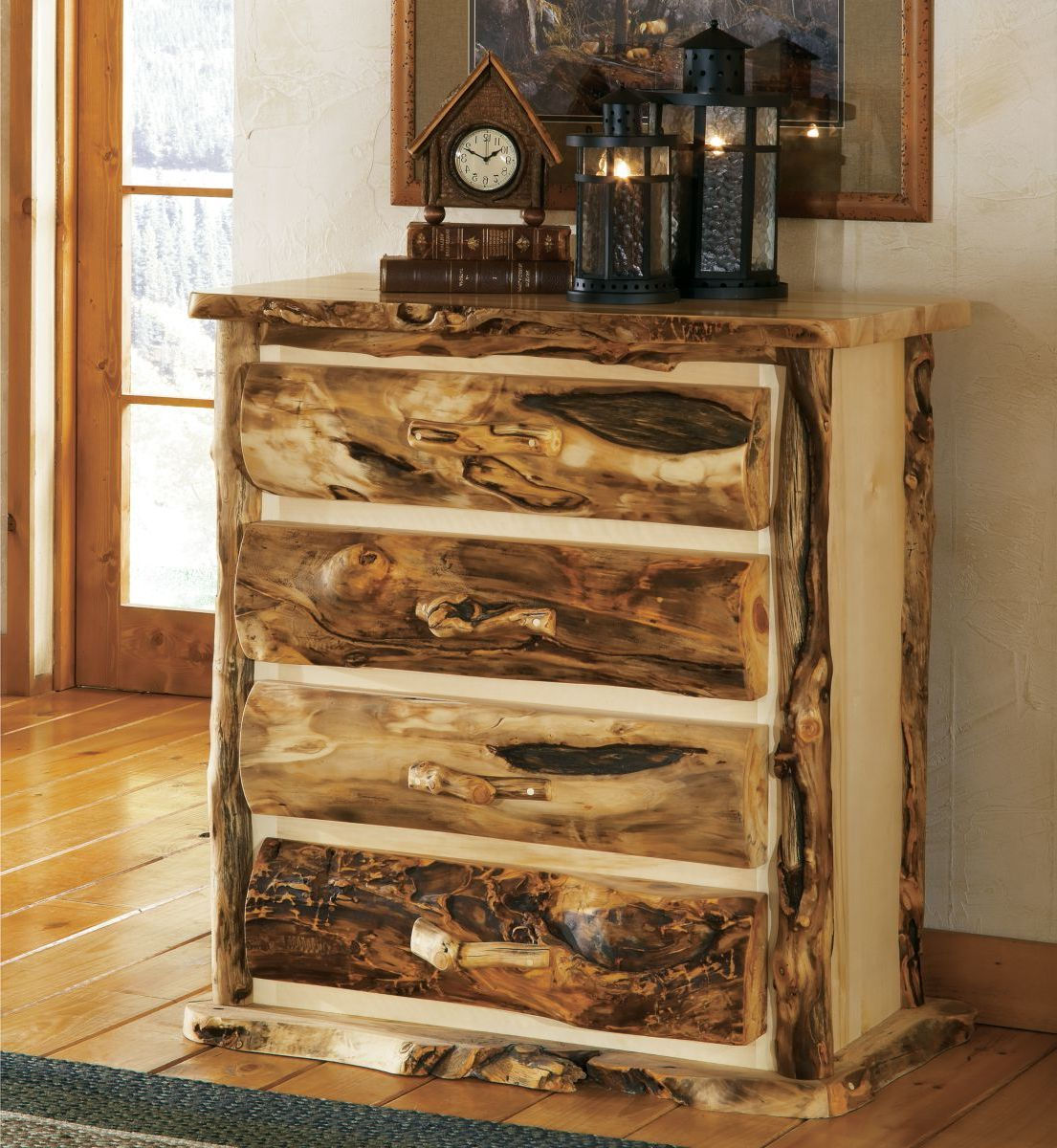 Mountain Woods Furniture® Extra-Gnarly Aspen Log Five-Drawer Chest