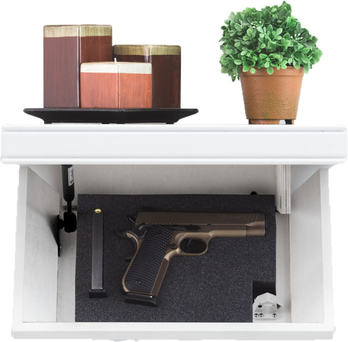 Tactical Walls 812 Pistol-Length White Shelf – Magnetic Lock