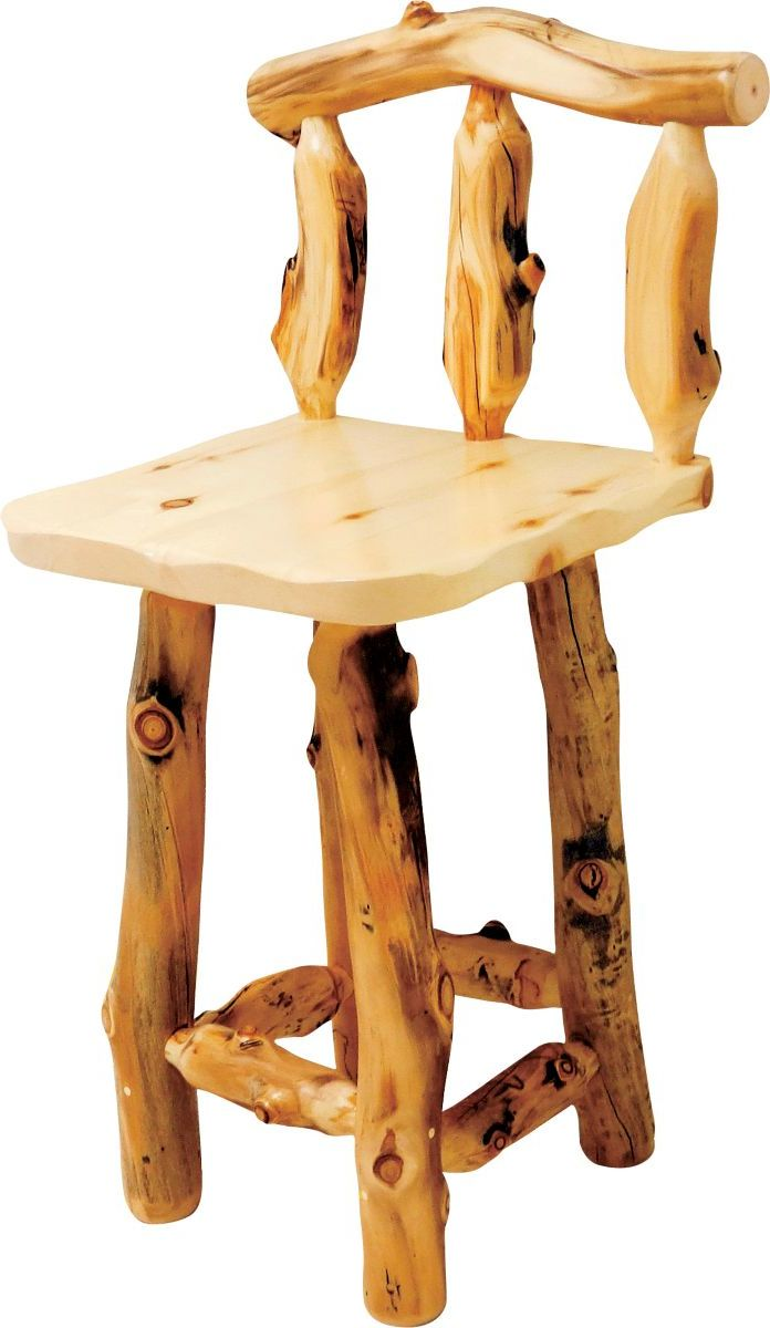 Mountain Woods Furniture® Aspen Grizzly Barstool with Back – No Swivel