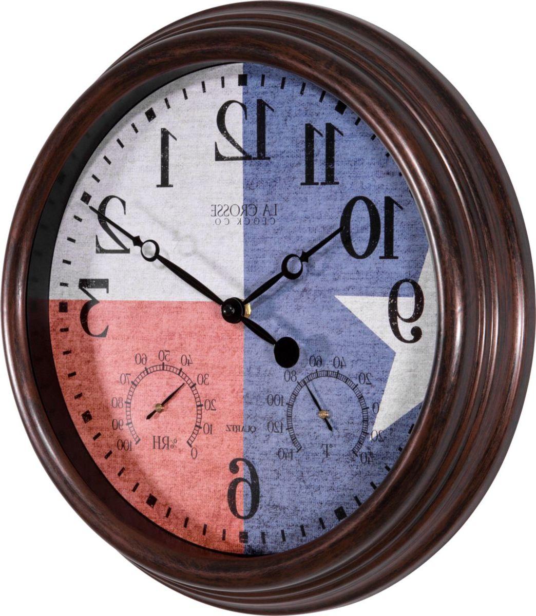 "La Crosse Technology® 15"" Texas-Flag Indoor/Outdoor Wall Clock"
