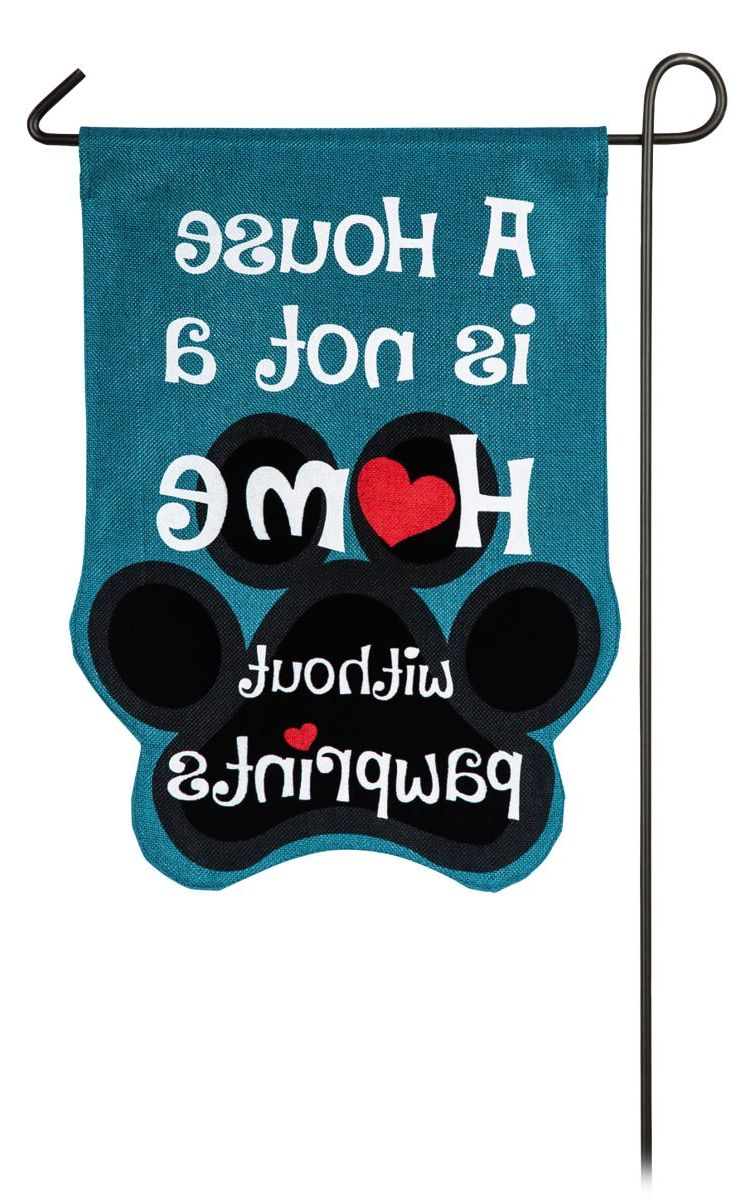 Evergreen® Without Paw Prints Burlap Garden Flag