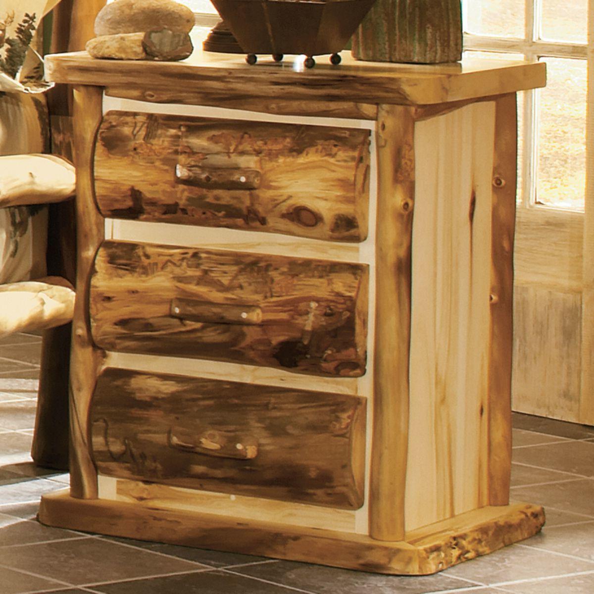 Mountain Woods Furniture® Aspen Log 3-Drawer Nightstand