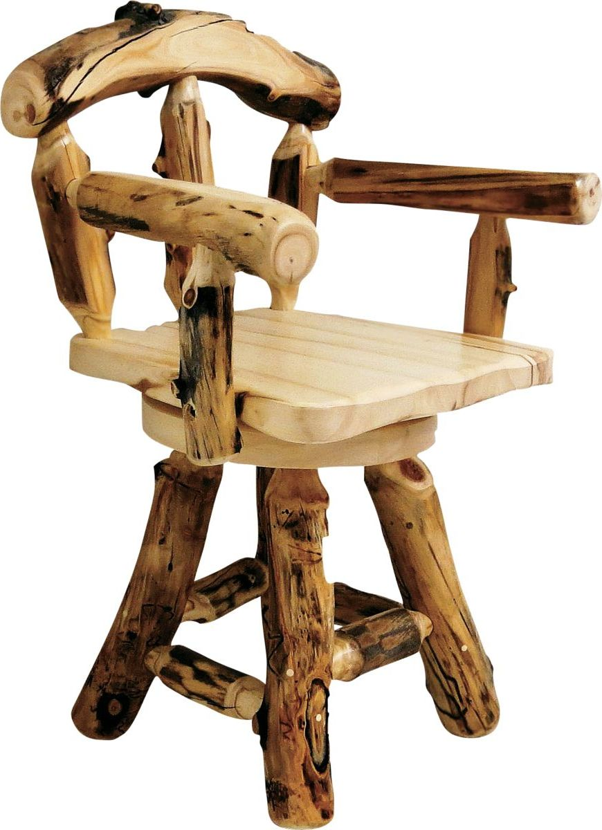 Mountain Woods Furniture® Aspen Grizzly Barstool with Back and Arms – Swivel