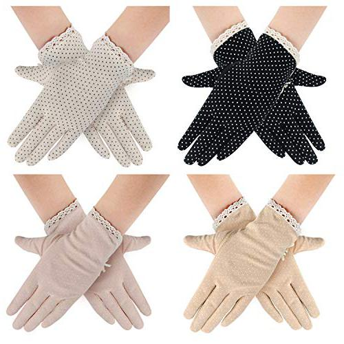 4 Pairs Summer Women Dots Sun Protection Gloves