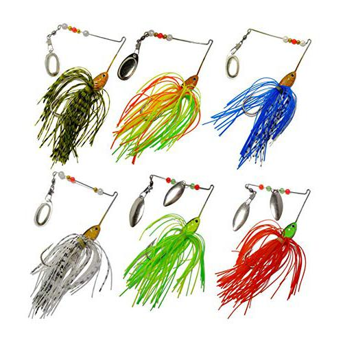 Bass Spinnerbait,6 Pcs Fishing Lures bait for northern pike